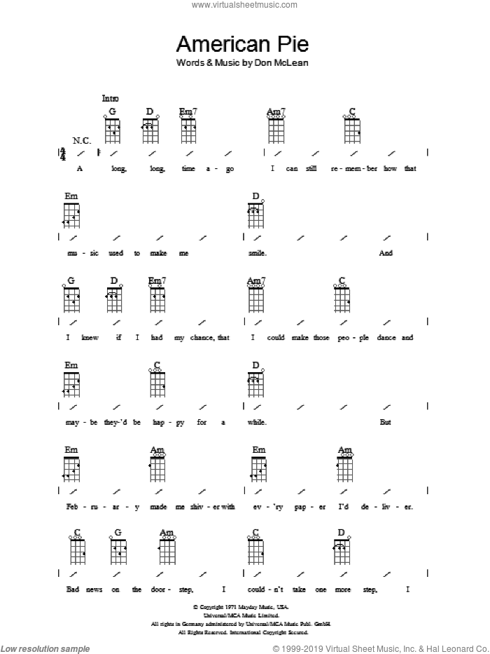 American Pie sheet music for ukulele (chords) by Don McLean. Score Image Preview.