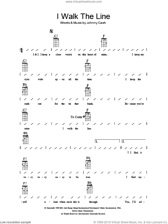 I Walk The Line sheet music for ukulele (chords) by Johnny Cash, intermediate. Score Image Preview.