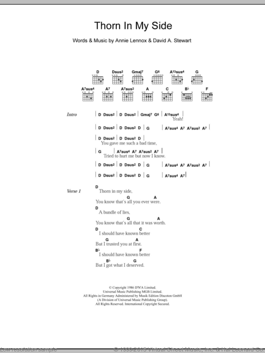 Thorn In My Side sheet music for guitar (chords) by David Stewart