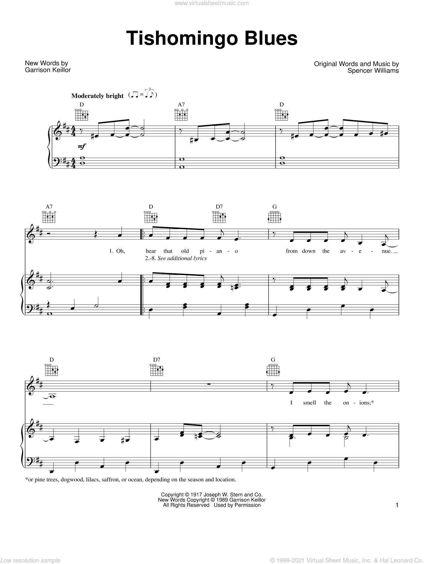 Tishomingo Blues sheet music for voice, piano or guitar by Garrison Keillor and Spencer Williams. Score Image Preview.