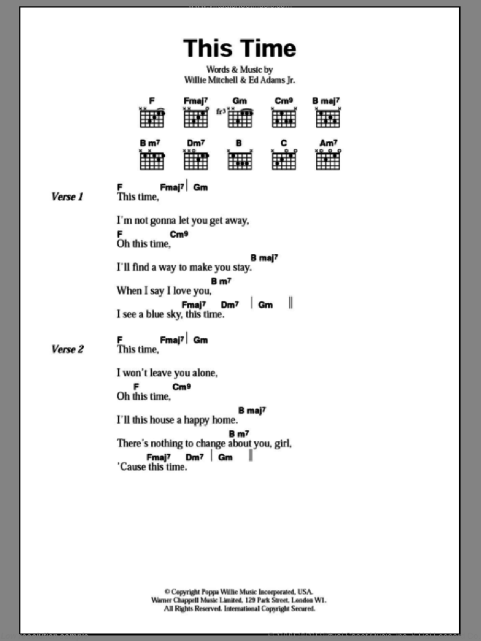 This Time sheet music for guitar (chords) by Wet Wet Wet, Ed Adams Jr and Willie Mitchell, intermediate skill level