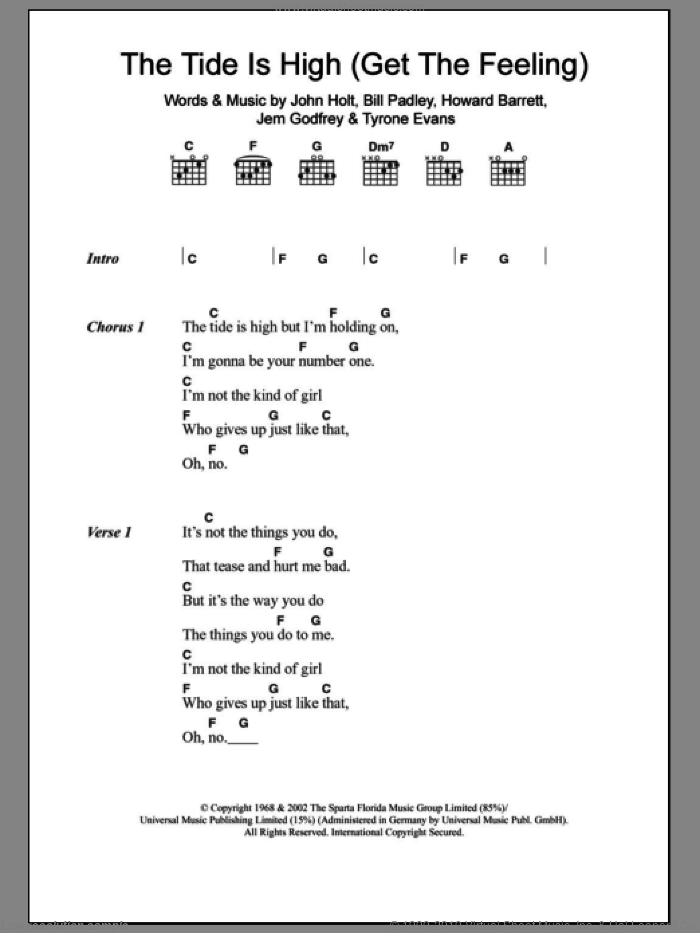 The Tide Is High (Get The Feeling) sheet music for guitar (chords) by Tyrone Evans, Atomic Kitten, Blondie, Bill Padley, Howard Barrett, Jem Godfrey and John Holt. Score Image Preview.