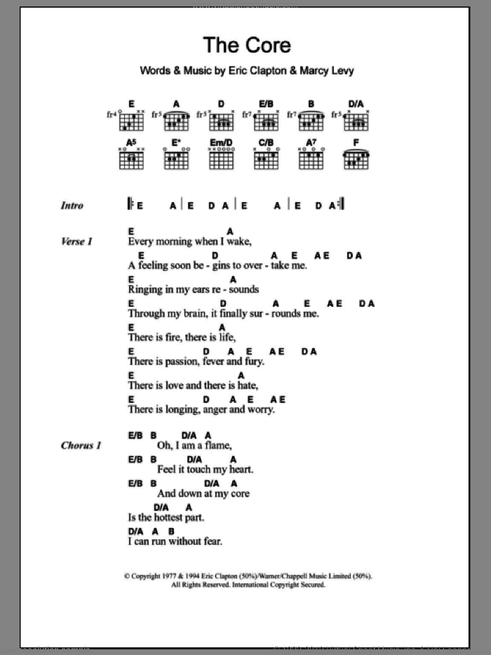 Clapton The Core Sheet Music For Guitar Chords Pdf