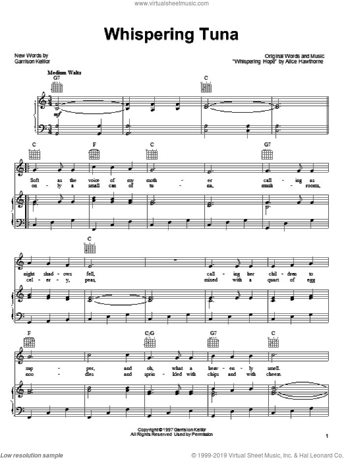 Whispering Tuna sheet music for voice, piano or guitar by Alice Hawthorne and Garrison Keillor. Score Image Preview.