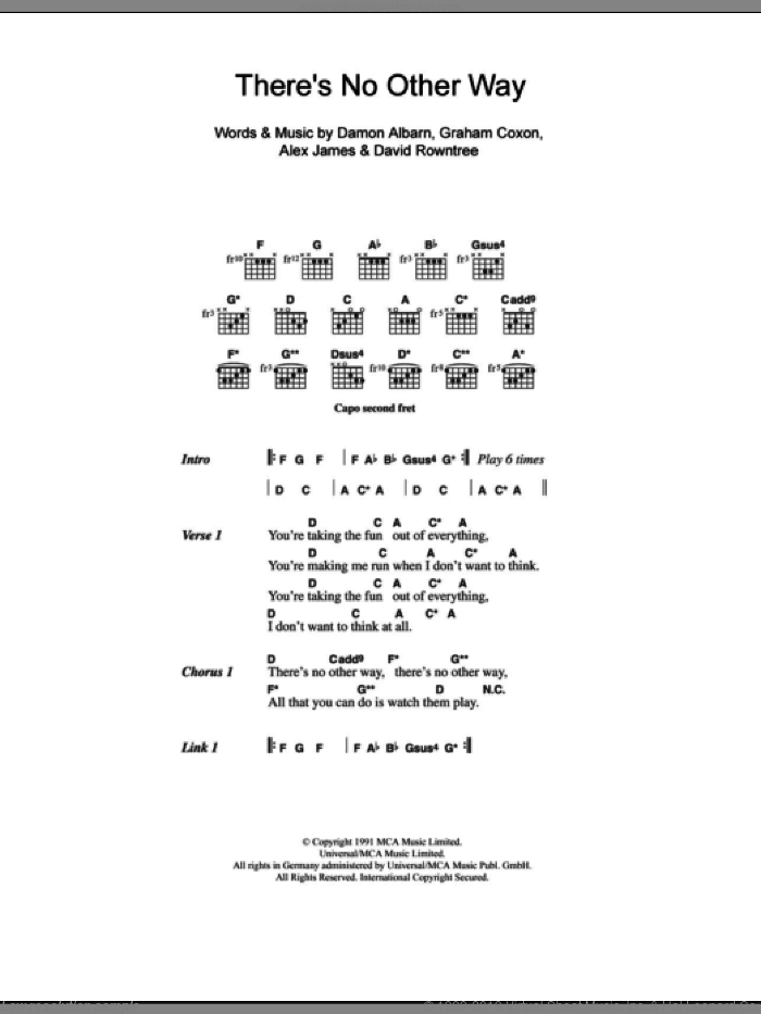 There's No Other Way sheet music for guitar (chords) by Blur, Alex James and Damon Albarn. Score Image Preview.