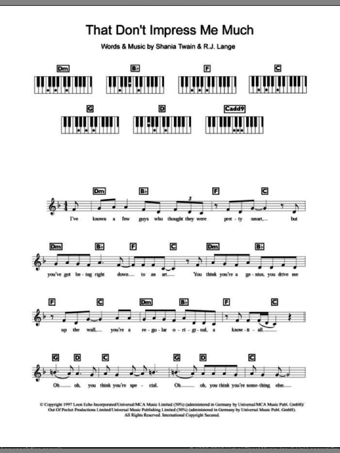 That Don't Impress Me Much sheet music for piano solo (chords, lyrics, melody) by Shania Twain and Robert John Lange, intermediate piano (chords, lyrics, melody)