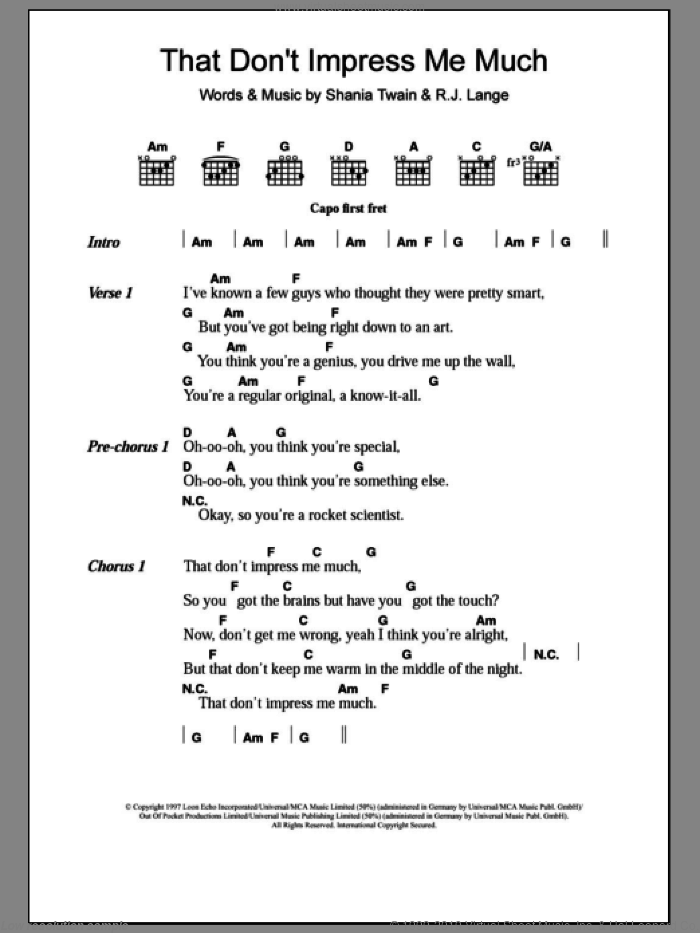 That Don't Impress Me Much sheet music for guitar (chords) by Robert John Lange and Shania Twain. Score Image Preview.