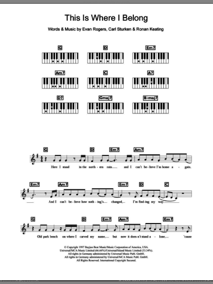 This Is Where I Belong sheet music for piano solo (chords, lyrics, melody) by Boyzone, Carl Sturken, Evan Rogers and Ronan Keating, intermediate piano (chords, lyrics, melody)
