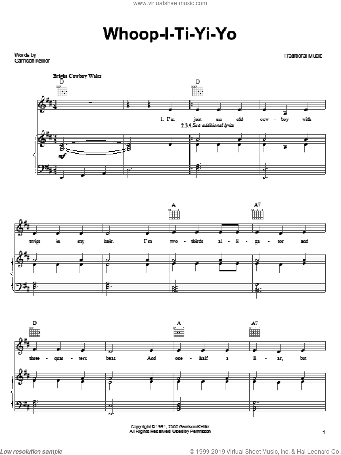 Whoop-I-Ti-Yi-Yo sheet music for voice, piano or guitar  and Garrison Keillor. Score Image Preview.