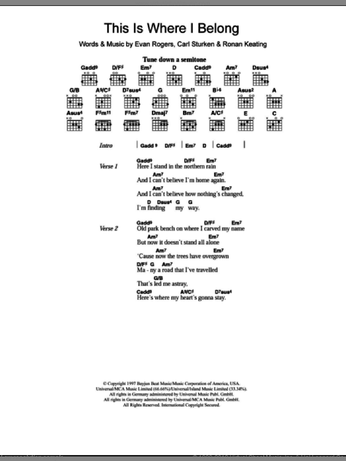 This Is Where I Belong sheet music for guitar (chords) by Ronan Keating