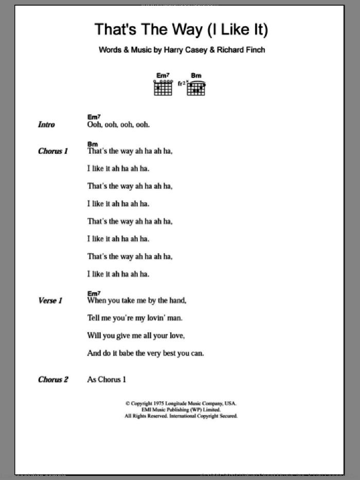 That's The Way (I Like It) sheet music for guitar (chords) by Richard Finch