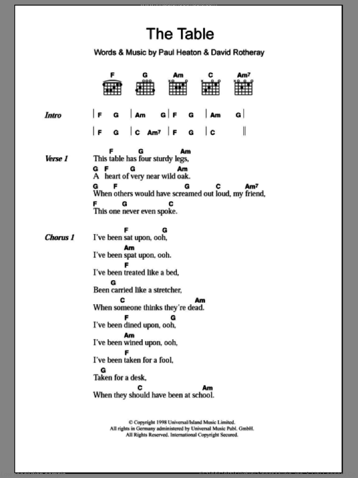 The Table sheet music for guitar (chords) by The Beautiful South, David Rotheray and Paul Heaton, intermediate skill level