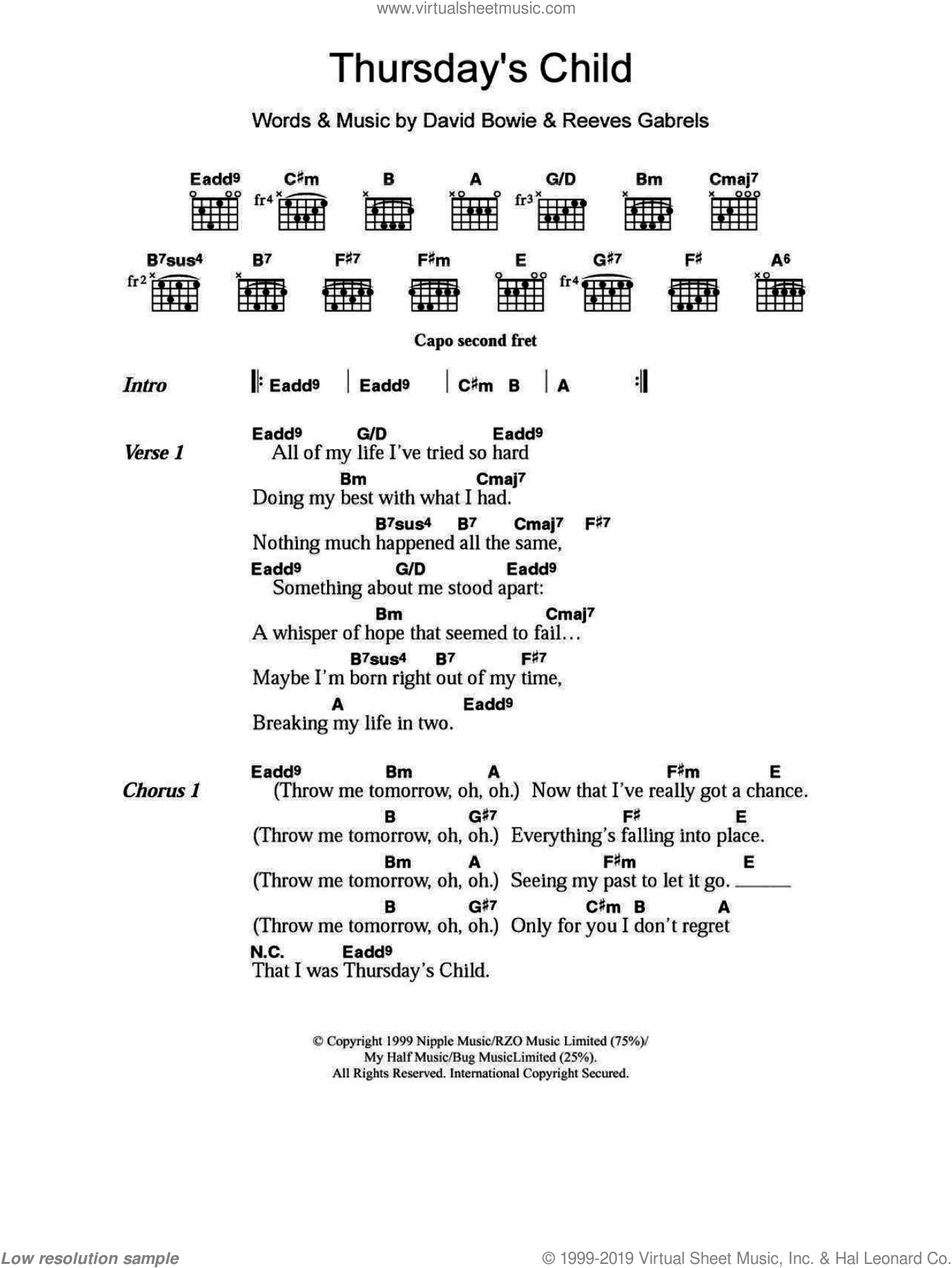 Bowie - Thursday\'s Child sheet music for guitar (chords) [PDF]