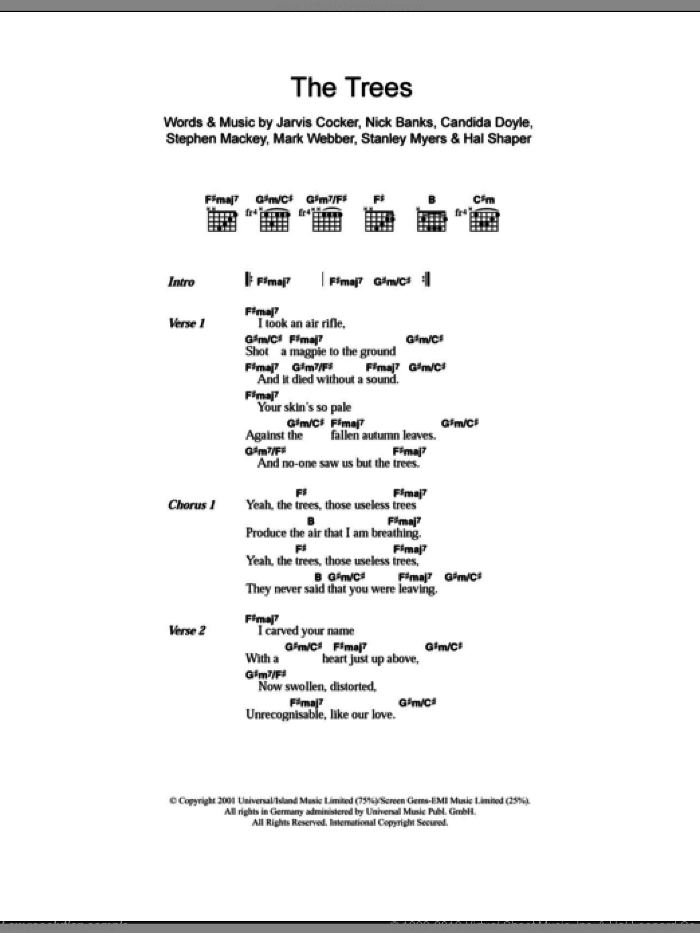 The Trees sheet music for guitar (chords, lyrics, melody) by Stephen Mackey