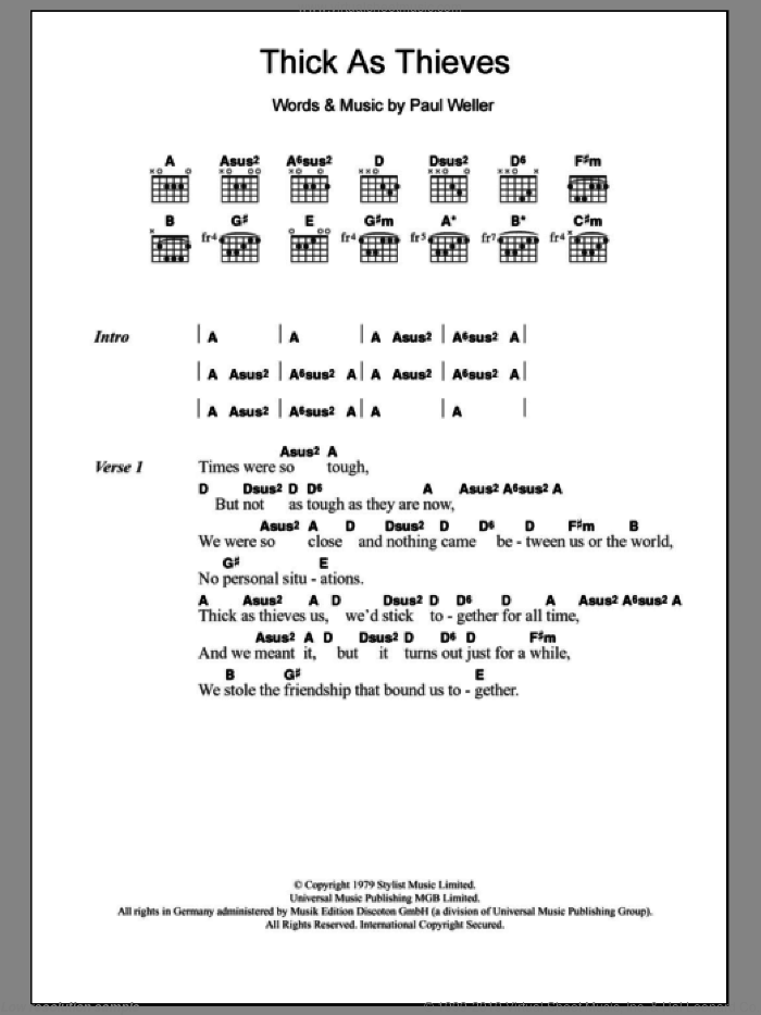 Thick As Thieves sheet music for guitar (chords) by The Jam and Paul Weller, intermediate guitar (chords). Score Image Preview.