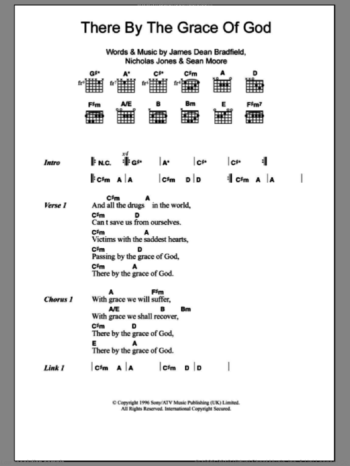 There By The Grace Of God sheet music for guitar (chords) by The Manic Street Preachers and James Dean Bradfield, intermediate guitar (chords). Score Image Preview.