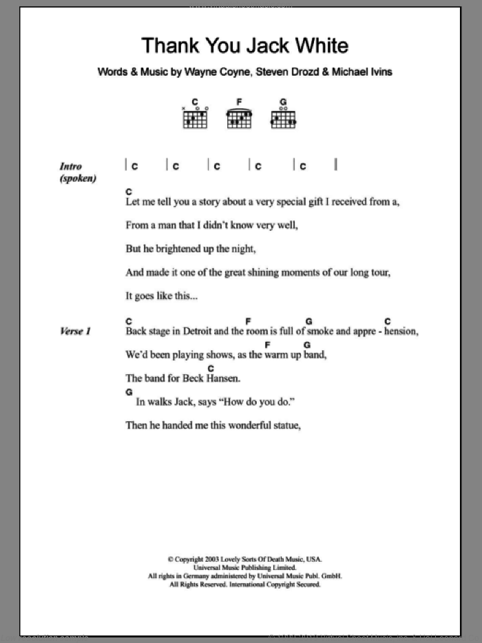 Thank You Jack White sheet music for guitar (chords) by The Flaming Lips. Score Image Preview.