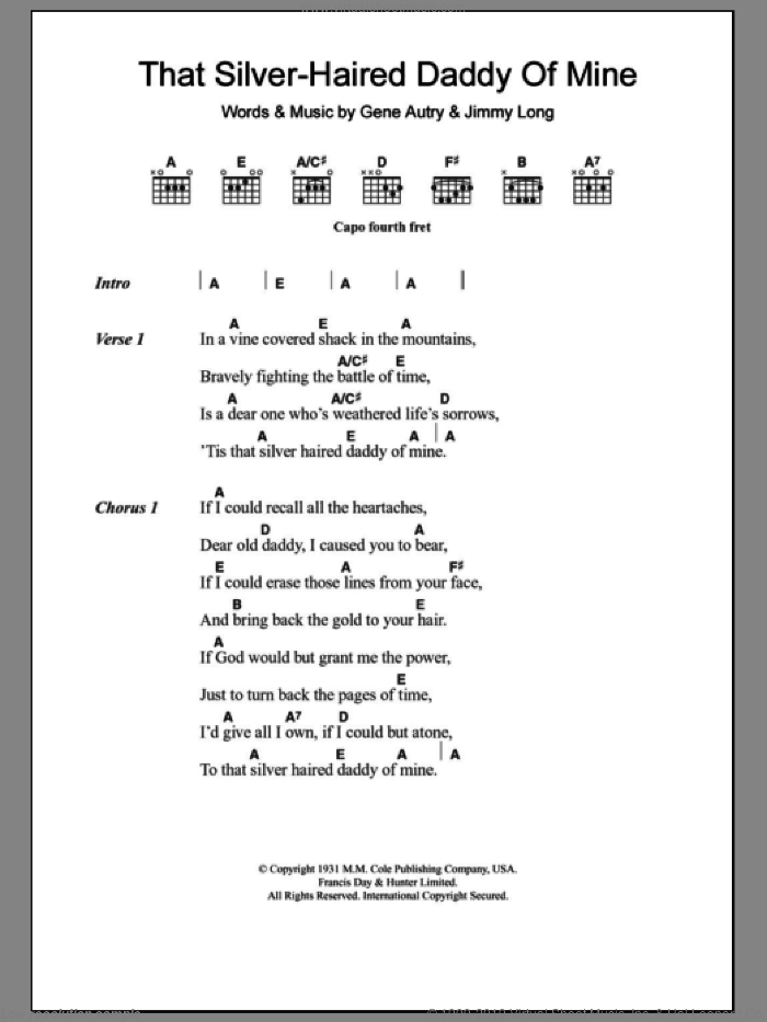 That Silver-Haired Daddy Of Mine sheet music for guitar (chords) by Gene Autry. Score Image Preview.