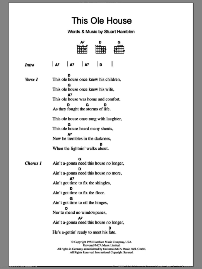 This Ole House sheet music for guitar (chords) by Stuart Hamblen. Score Image Preview.