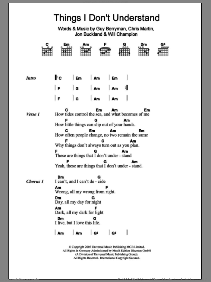 Things I Don't Understand sheet music for guitar (chords) by Coldplay, Chris Martin, Guy Berryman, Jon Buckland and Will Champion, intermediate
