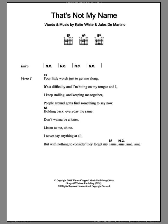 That's Not My Name sheet music for guitar (chords) by The Ting Tings, Jules De Martino and Katie White, intermediate skill level