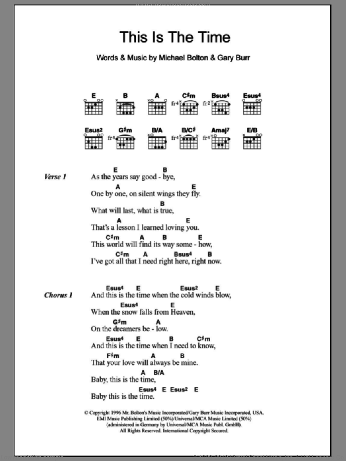 This Is The Time sheet music for guitar (chords) by Michael Bolton and Gary Burr, intermediate skill level