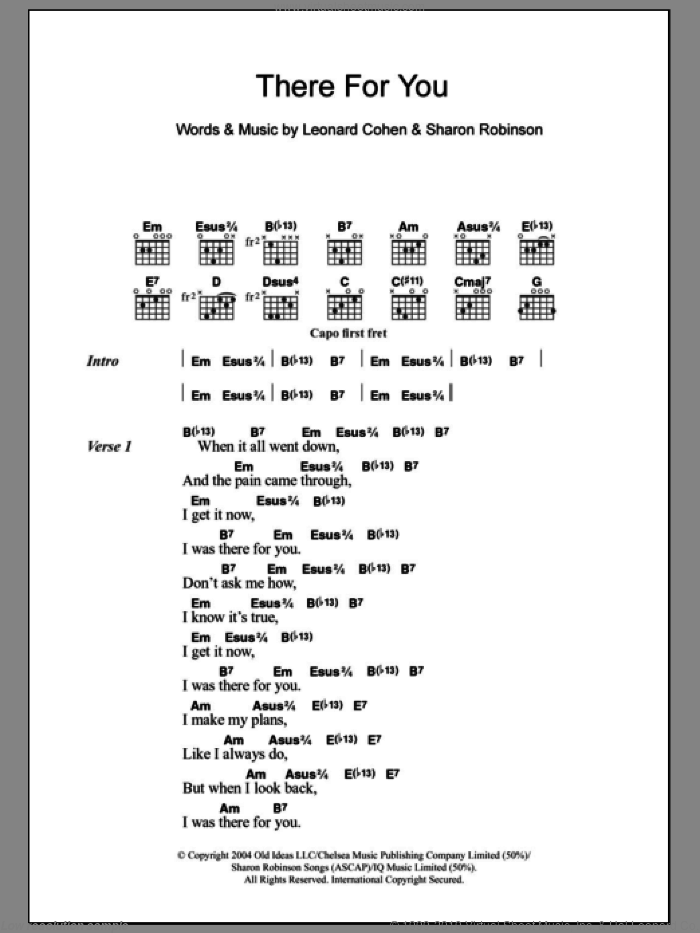 There For You sheet music for guitar (chords) by Sharon Robinson and Leonard Cohen. Score Image Preview.