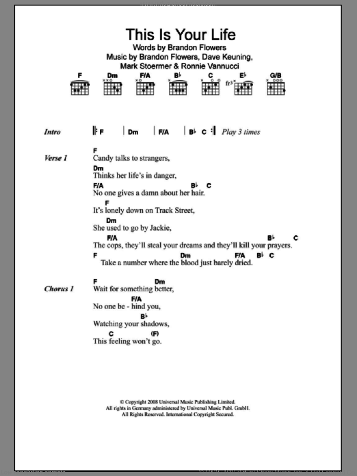 This Is Your Life sheet music for guitar (chords) by Ronnie Vannucci, The Killers, Brandon Flowers, Dave Keuning and Mark Stoermer. Score Image Preview.