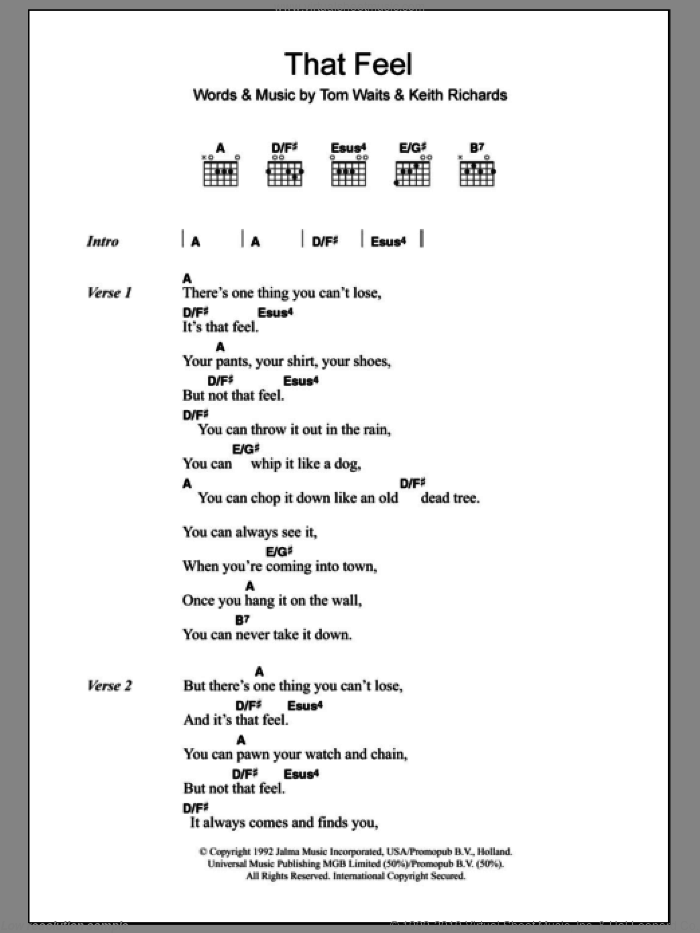 That Feel sheet music for guitar (chords) by Keith Richards and Tom Waits. Score Image Preview.