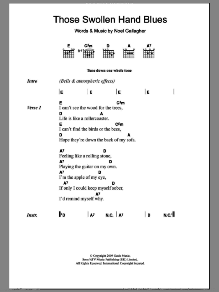 Oasis - Those Swollen Hand Blues sheet music for guitar (chords)