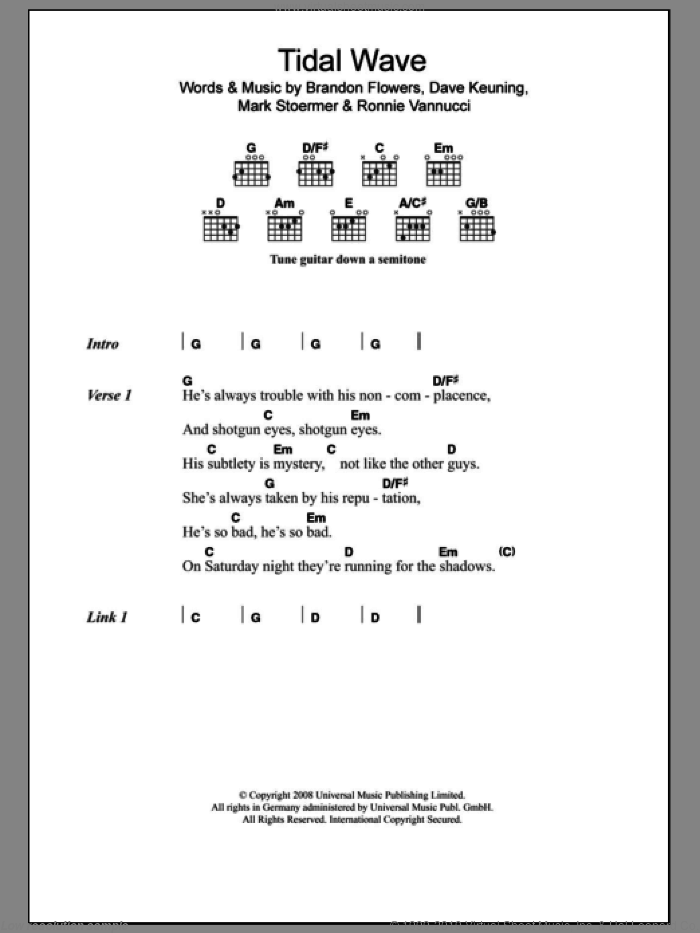 Tidal Wave sheet music for guitar (chords) by Ronnie Vannucci, The Killers, Brandon Flowers, Dave Keuning and Mark Stoermer. Score Image Preview.