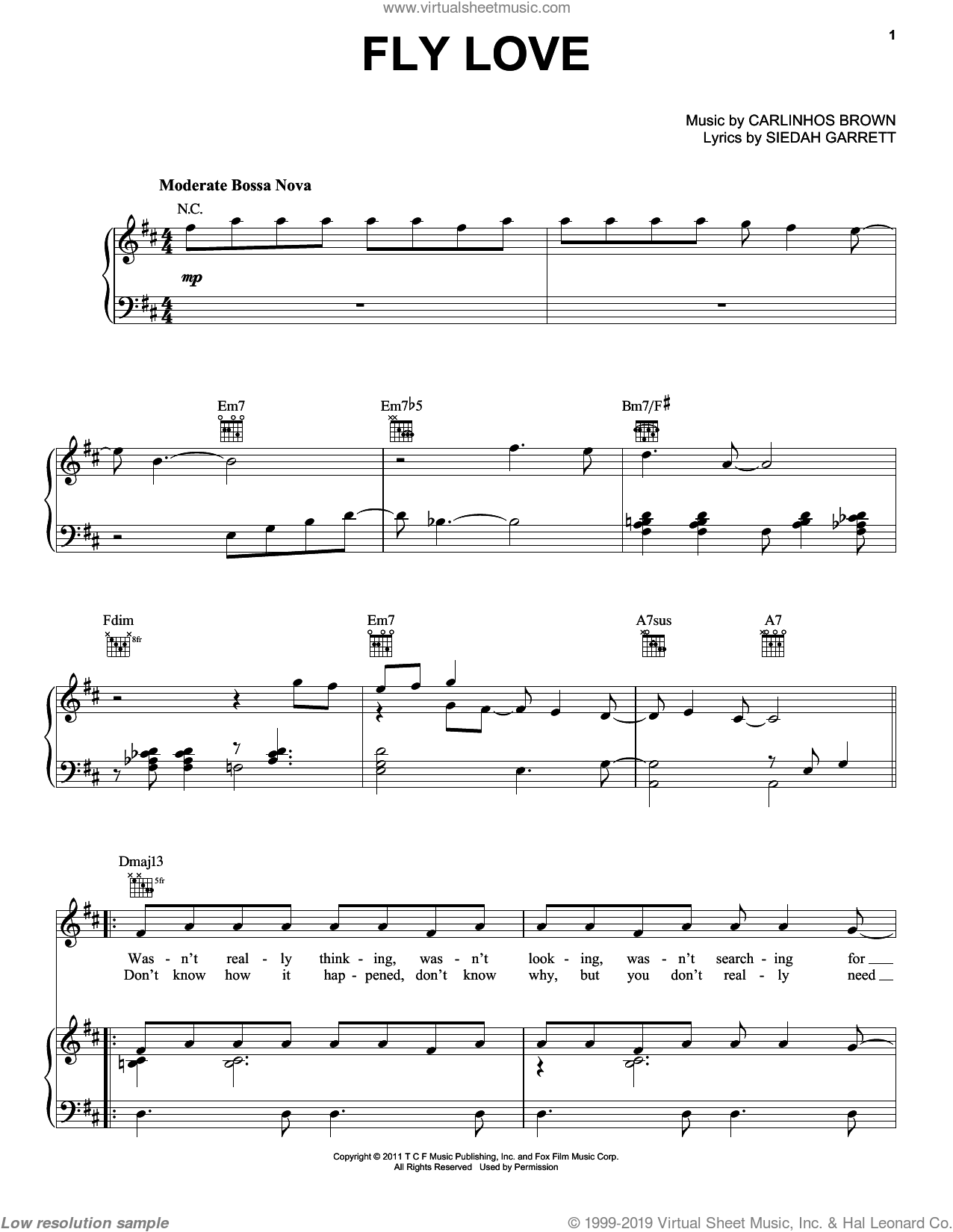 Fly Love sheet music for voice, piano or guitar by Jamie Foxx, Carlinhos Brown and Siedah Garrett, intermediate. Score Image Preview.