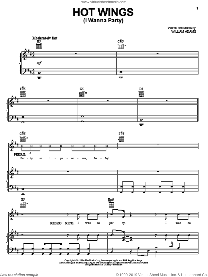 Hot Wings (I Wanna Party) sheet music for voice, piano or guitar by Will Adams, intermediate. Score Image Preview.