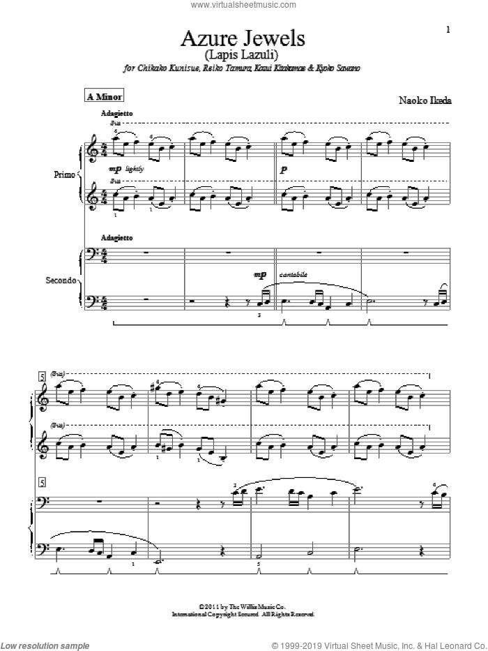Azure Jewels sheet music for piano four hands (duets) by Naoko Ikeda