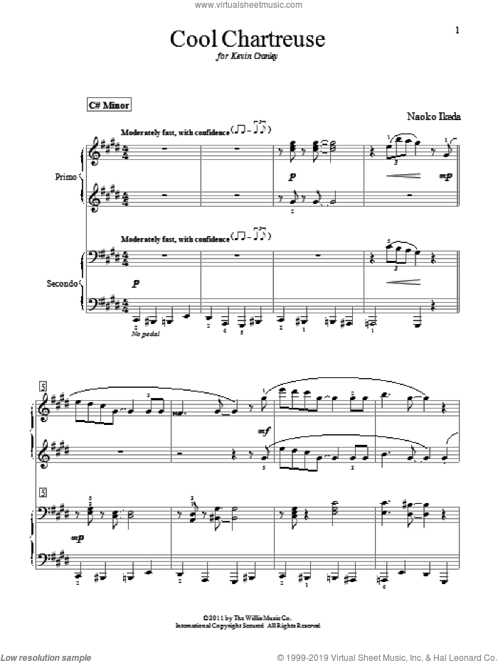 Cool Chartreuse sheet music for piano four hands (duets) by Naoko Ikeda