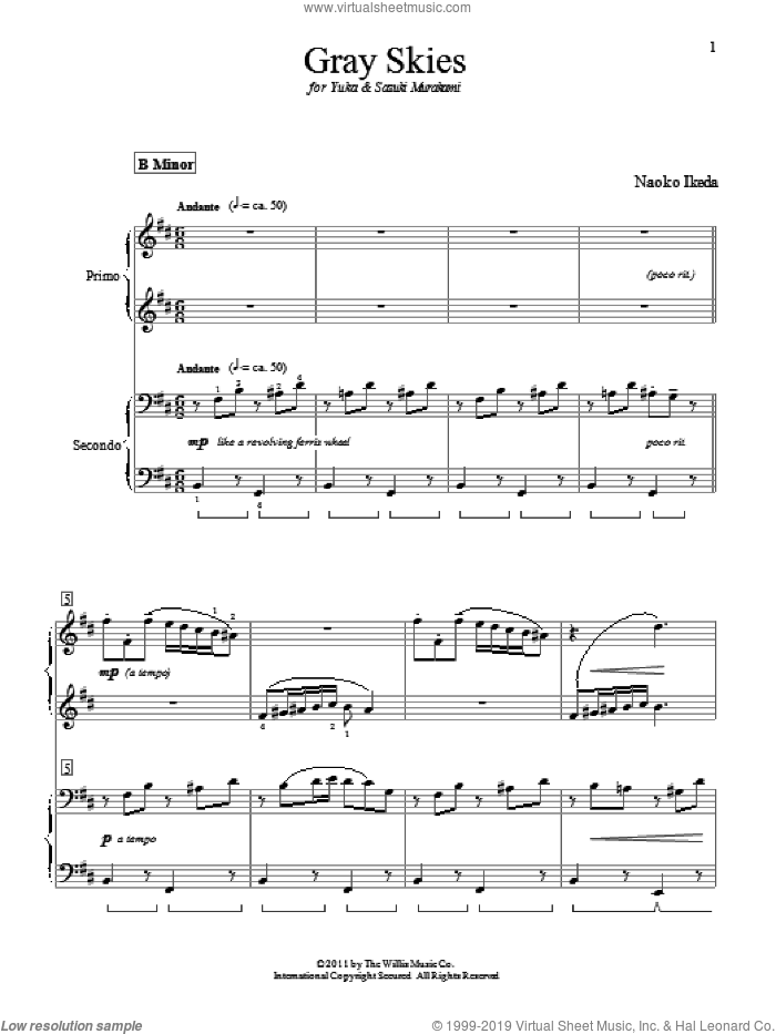 Gray Skies sheet music for piano four hands (duets) by Naoko Ikeda. Score Image Preview.