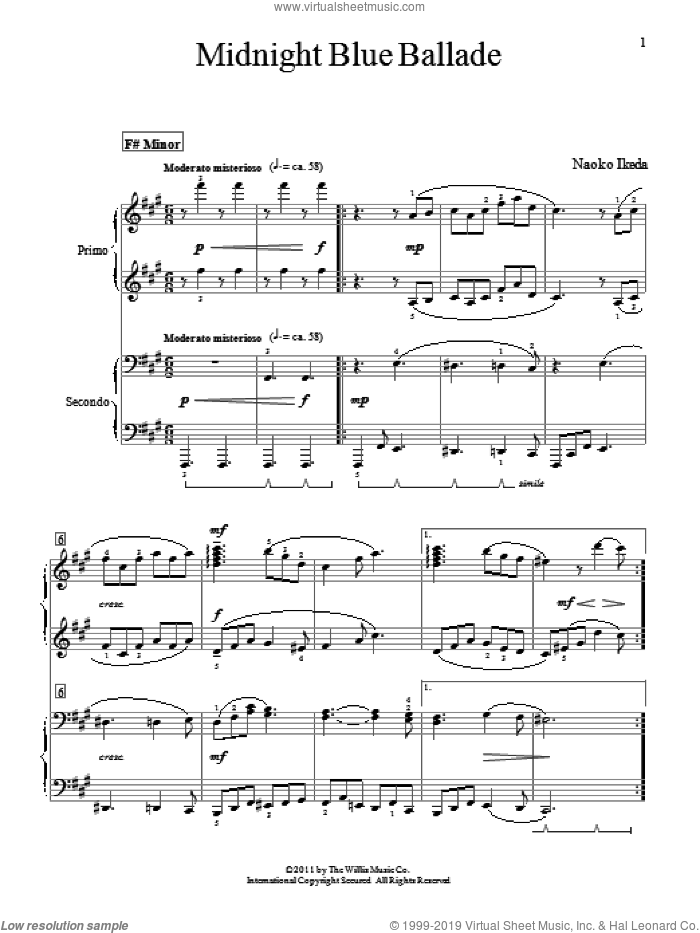 Midnight Blue Ballade sheet music for piano four hands (duets) by Naoko Ikeda, intermediate piano four hands. Score Image Preview.