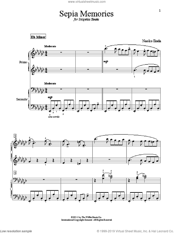 Sepia Memories sheet music for piano four hands (duets) by Naoko Ikeda. Score Image Preview.