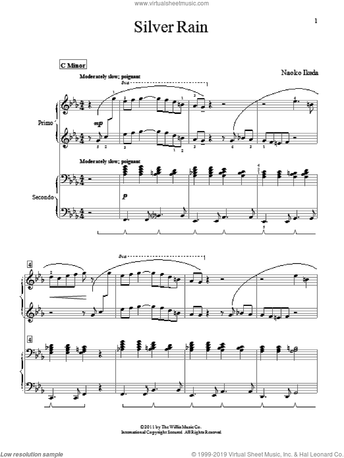 Silver Rain sheet music for piano four hands (duets) by Naoko Ikeda. Score Image Preview.