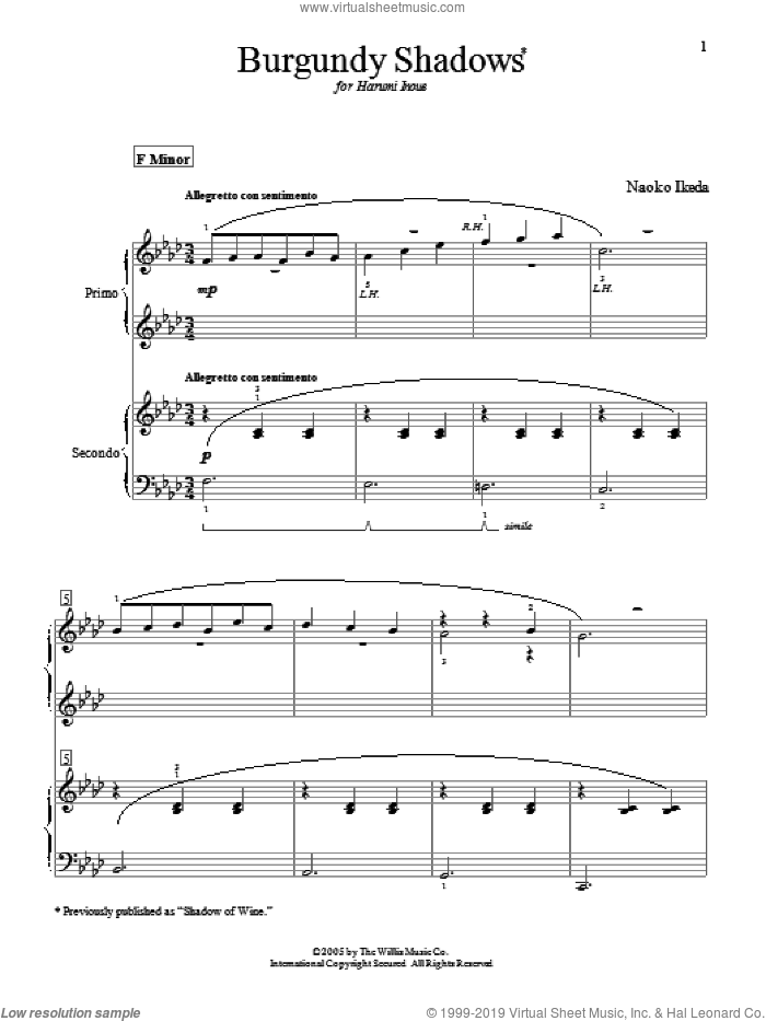 Burgundy Shadows (Shadow Of Wine) sheet music for piano four hands by Naoko Ikeda, intermediate skill level