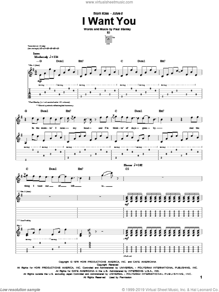 I Want You sheet music for guitar (tablature) by KISS and Paul Stanley, intermediate