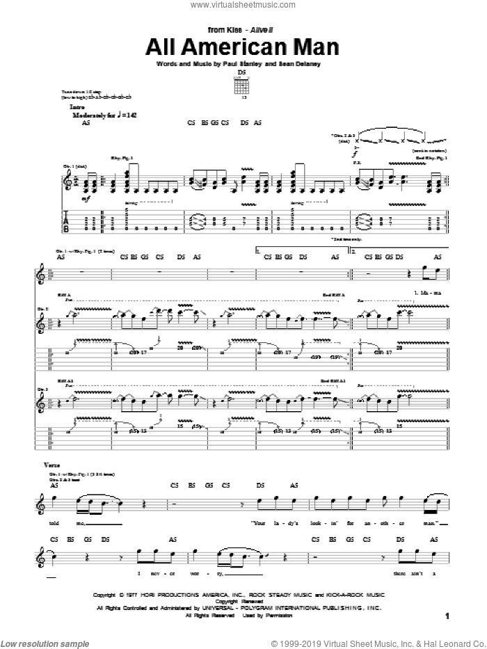 All American Man sheet music for guitar (tablature) by KISS, Paul Stanley and Sean Delaney, intermediate. Score Image Preview.