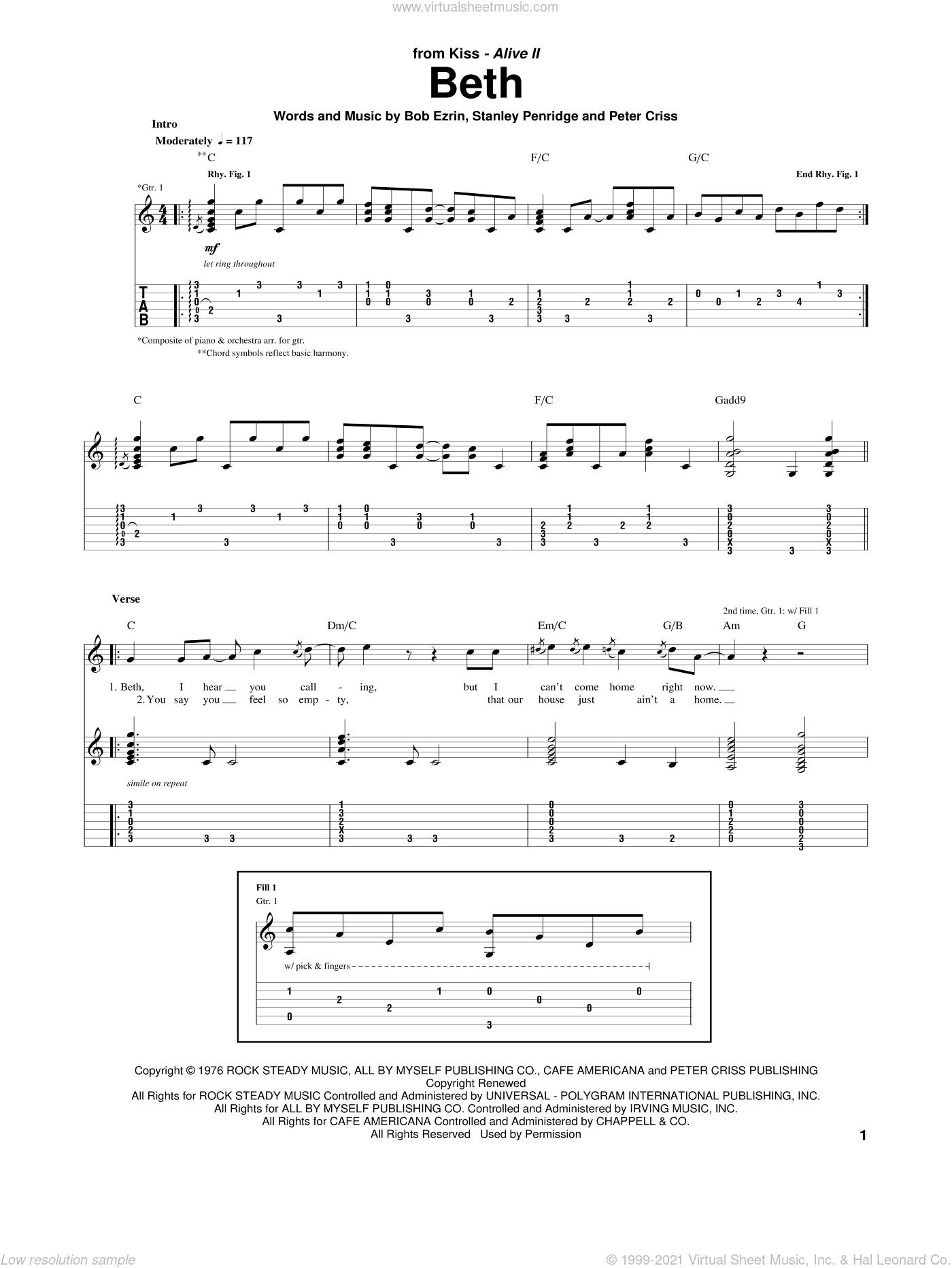 Beth sheet music for guitar (tablature) by KISS, Bob Ezrin, Peter Criss and Stan Penridge, intermediate skill level