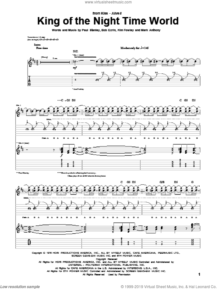 King Of The Night Time World sheet music for guitar (tablature) by KISS, Bob Ezrin, Kim Fowley, Mark Anthony and Paul Stanley, intermediate. Score Image Preview.