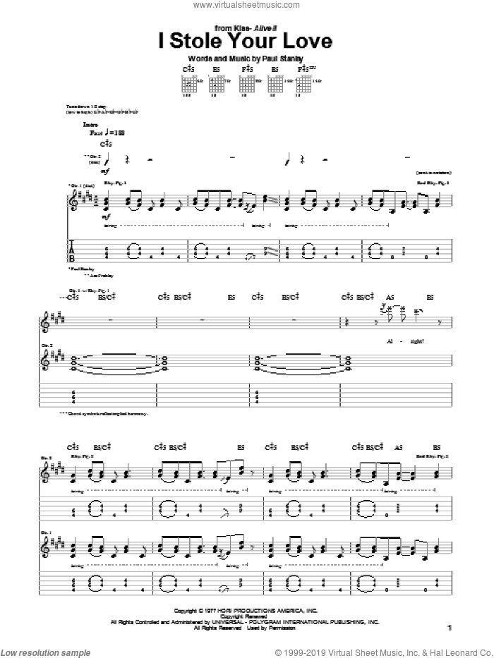 I Stole Your Love sheet music for guitar (tablature) by Paul Stanley and KISS. Score Image Preview.