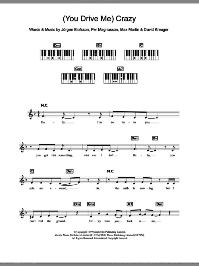 (You Drive Me) Crazy sheet music for piano solo (chords, lyrics, melody) by Britney Spears, David Kreuger, Jorgen Elofsson, Max Martin and Per Magnusson, intermediate piano (chords, lyrics, melody)