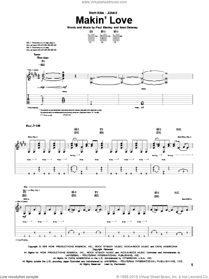 Makin' Love sheet music for guitar (tablature) by Sean Delaney, KISS and Paul Stanley. Score Image Preview.