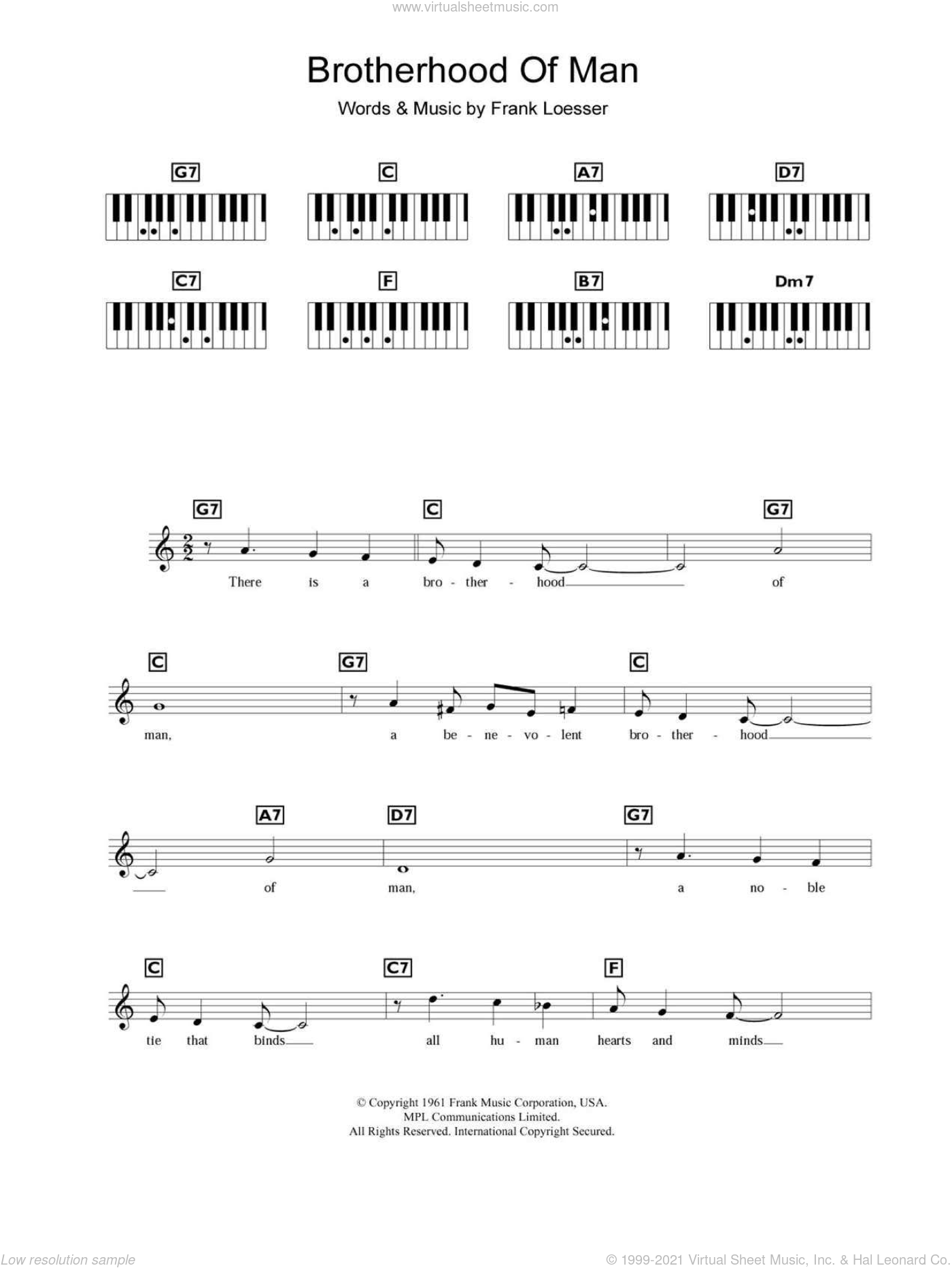 Brotherhood Of Man sheet music for piano solo (chords, lyrics, melody) by Frank Loesser. Score Image Preview.