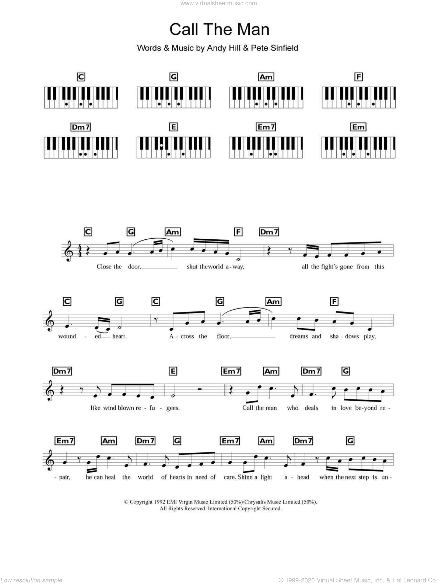 Call The Man sheet music for piano solo (chords, lyrics, melody) by Celine Dion, intermediate piano (chords, lyrics, melody). Score Image Preview.