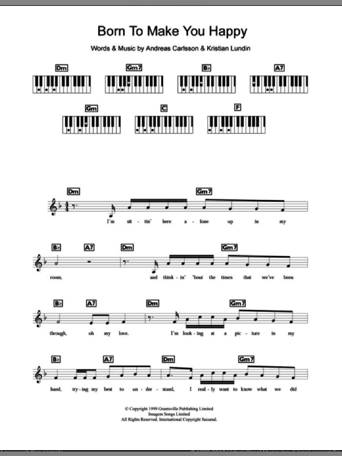 Born To Make You Happy sheet music for piano solo (chords, lyrics, melody) by Britney Spears, Andreas Carlsson and Kristian Lundin, intermediate piano (chords, lyrics, melody). Score Image Preview.